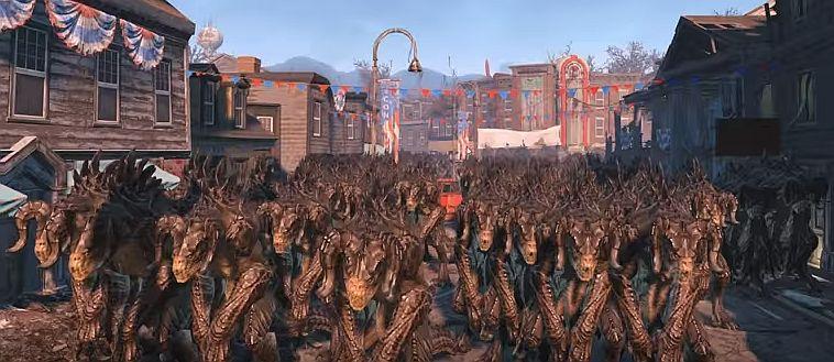 Craziest Fallout 4 NPC Battle Yet 1000 Deathclaws Vs 100