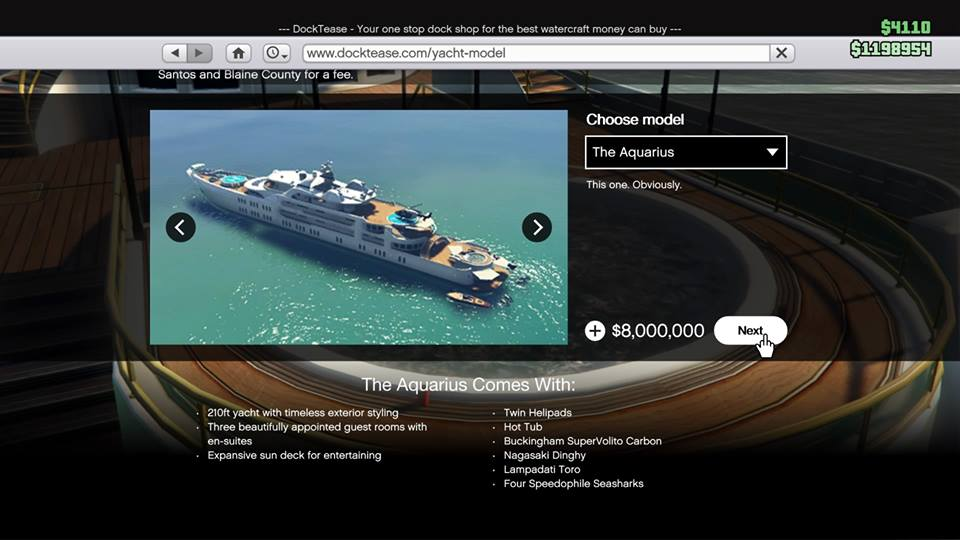GTA Online VIP modes yacht details hot tubs