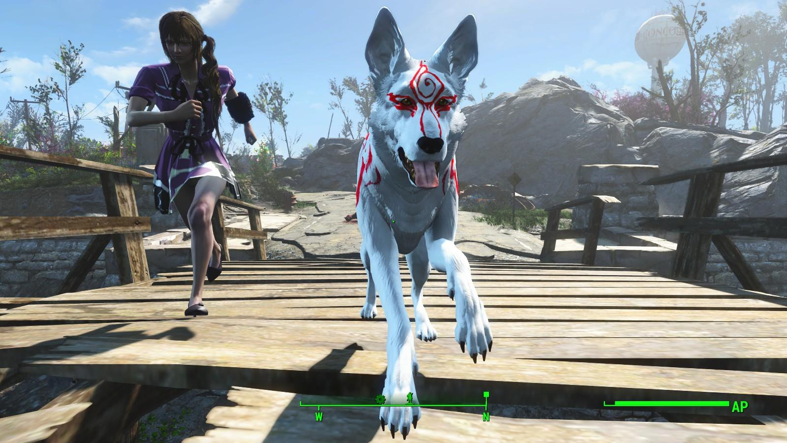 Fallout 4 Give Dogmeat The Look Of Okamis White Wolf