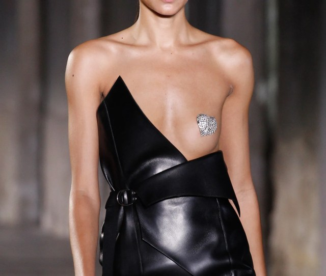 Anthony Vaccarello Frees The Nipple With Rhinestones At Saint Laurent For Spring  Paris Fashion Week Vogue