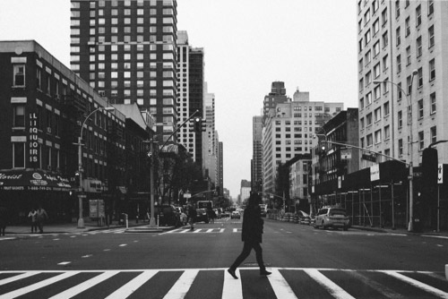 Black and white image of city intersection for Film 00