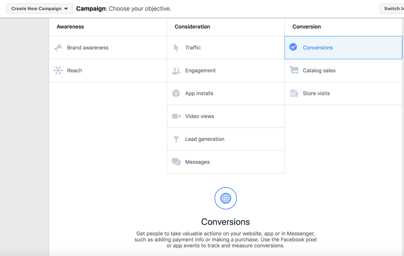 Create new campaign page of Facebook ads manager