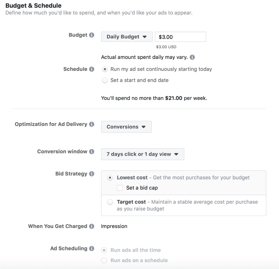 Budget and Schedule setting for ad set in Facebook ads manager