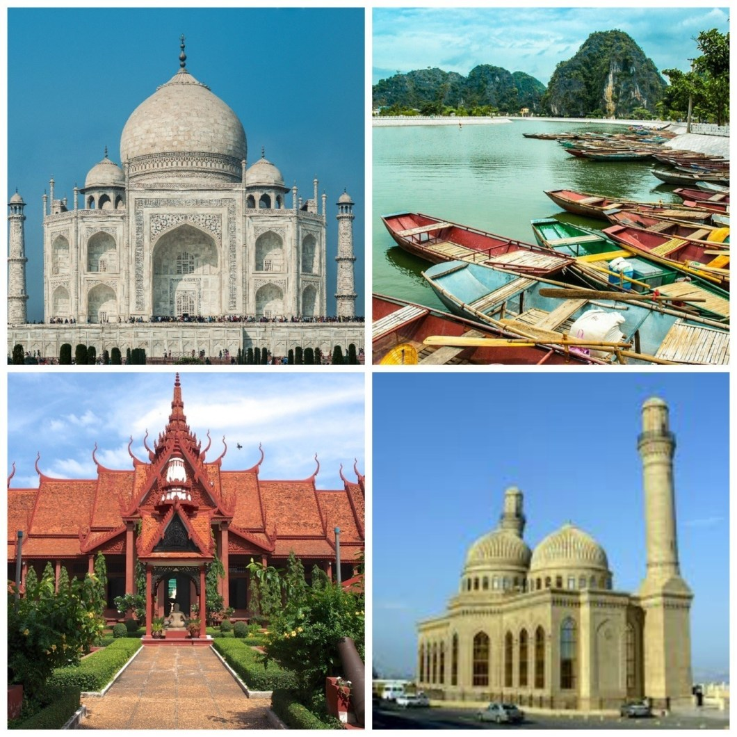 Your next trip? From top left: India, Vietnam, Cambodia, Azerbaijan.