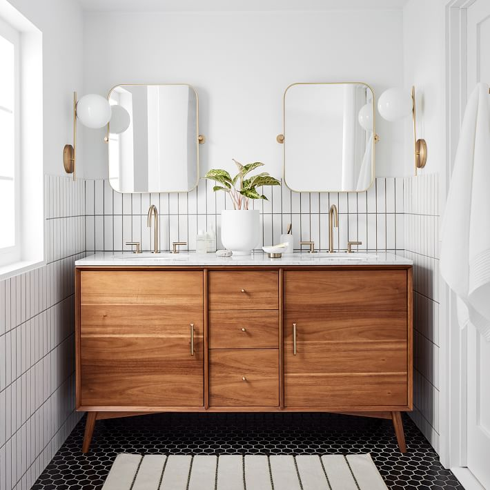Mid Century Double Bathroom Vanity Acorn