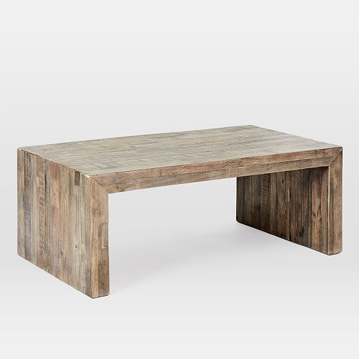 emmerson reclaimed wood coffee table stone gray