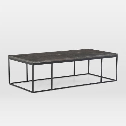 limestone iron rectangular coffee table