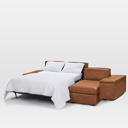enzo full leather sleeper sectional w