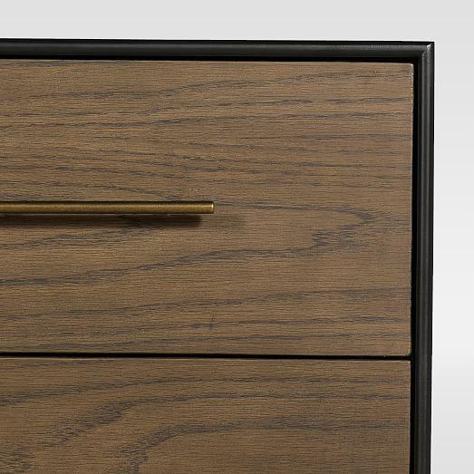 oak wood wrapped 2 drawer nightstand