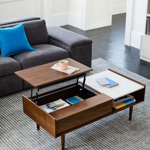 mid century pop up storage coffee table
