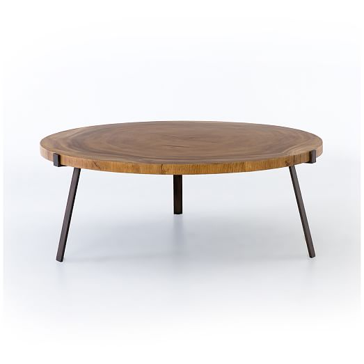natural wood round coffee table