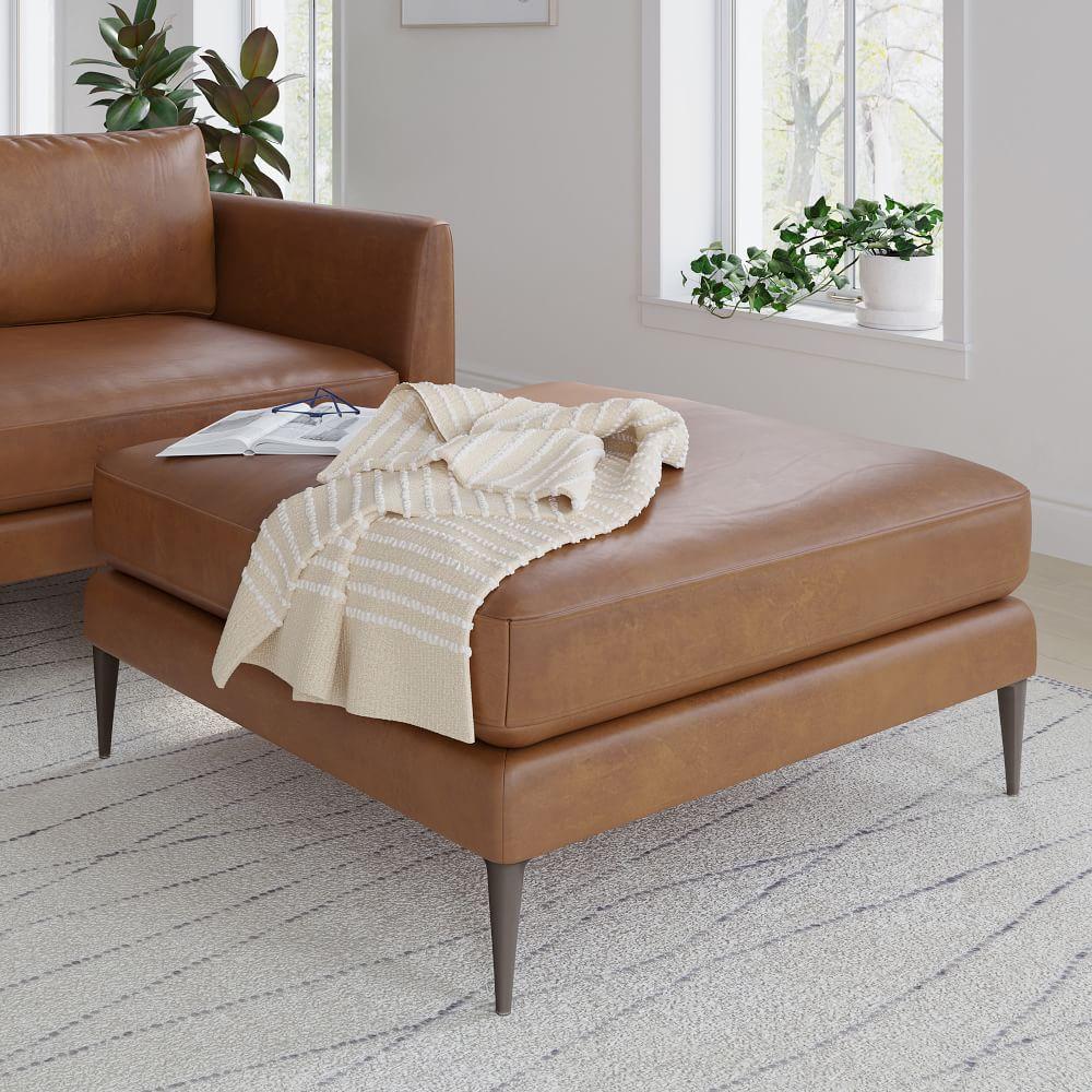 vail leather ottoman metal legs