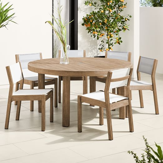 portside outdoor 60 round dining table textilene chairs set