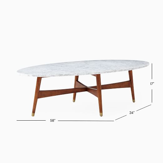 reeve mid century oval coffee table