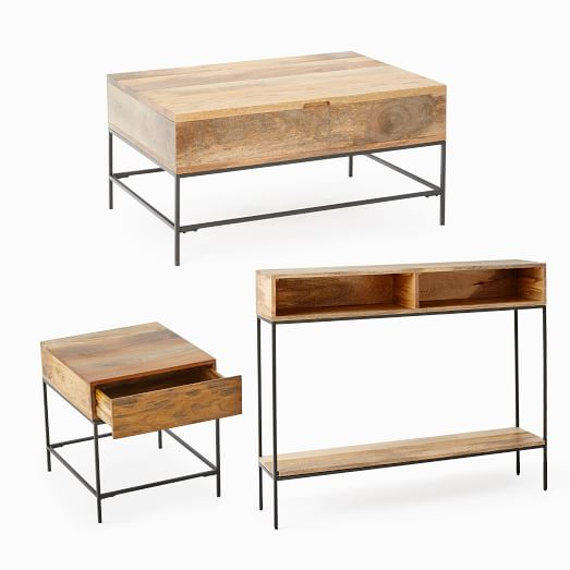 industrial storage pop up coffee table skinny console side table set
