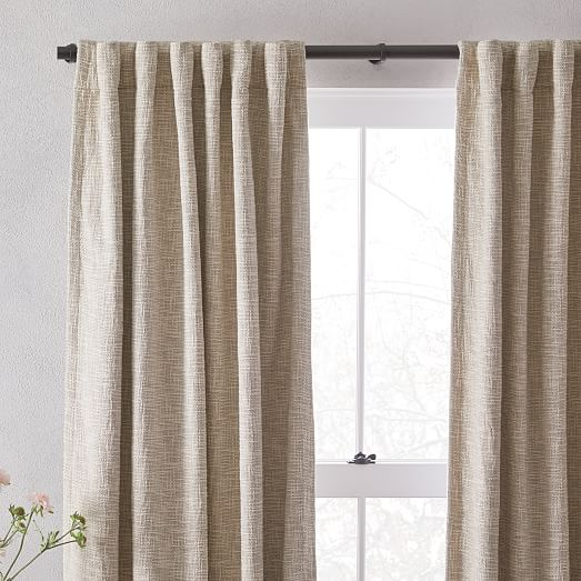 cotton textured weave curtain blackout lining ivory