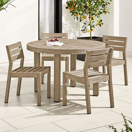 portside outdoor 48 round dining table solid wood chairs set