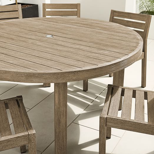 portside outdoor 60 round dining table solid wood chairs set