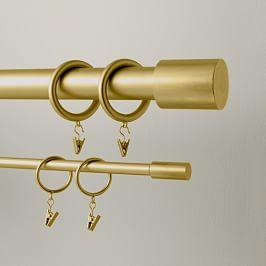 mid century wooden curtain rod wood brass