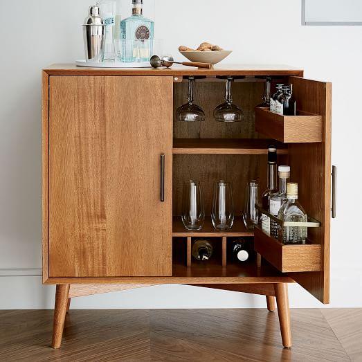 mid century bar cabinet small