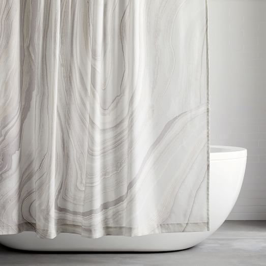 organic marble printed shower curtain