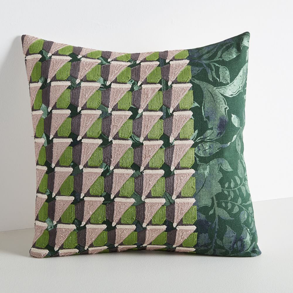 embroidered geo floral pillow covers