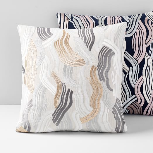 embroidered deco wave pillow cover