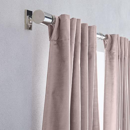 luster velvet curtain dusty blush