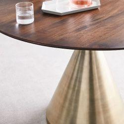 walnut table dining silhouette pedestal round brass antique dark base westelm tables furniture wood metal elm west