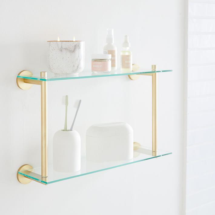 Modern Overhang Double Glass Bathroom Shelf