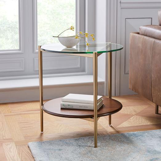mid century art display side table