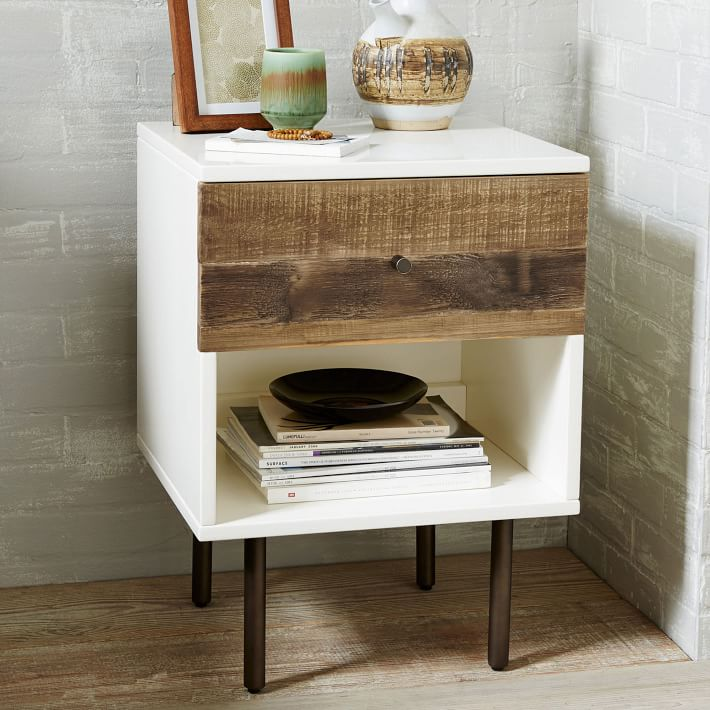 reclaimed wood lacquer nightstand