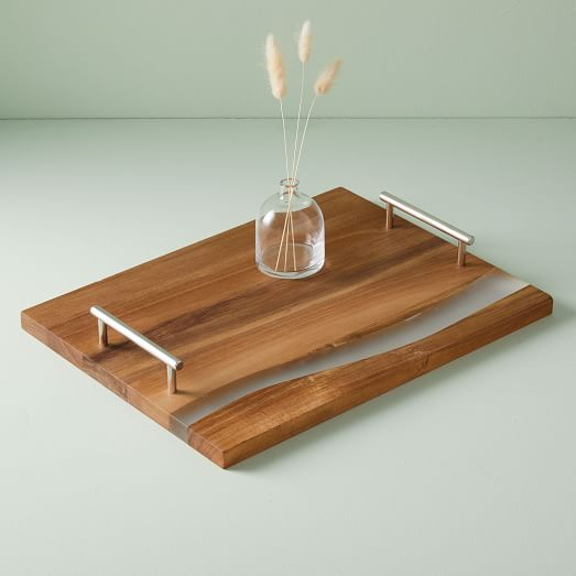 wood resin serving tray large rectangle