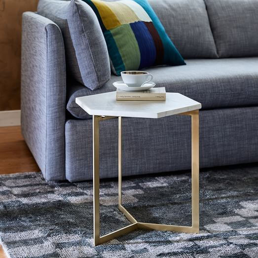 hex side table antique brass