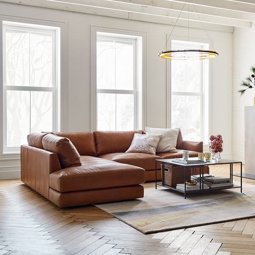 haven leather 2 piece terminal chaise sectional