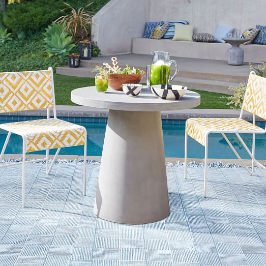 concrete outdoor round pedestal dining table