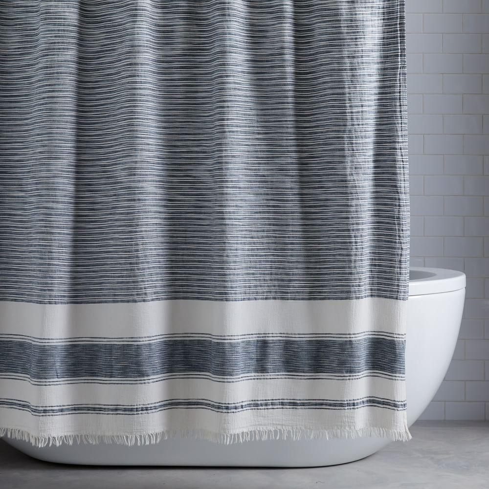 organic variegated stripe shower curtain