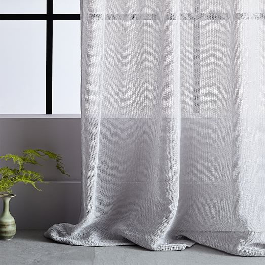 solid open weave sheer curtains set of