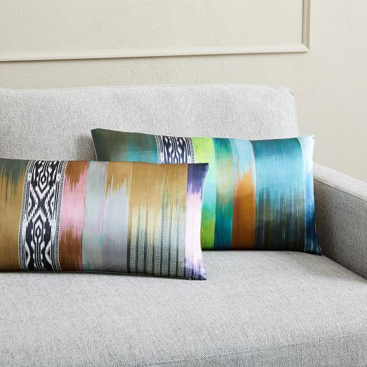 blurred ikat stripe silk pillow covers