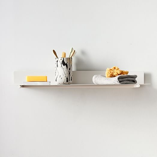 floating lines metal all in one shelf white