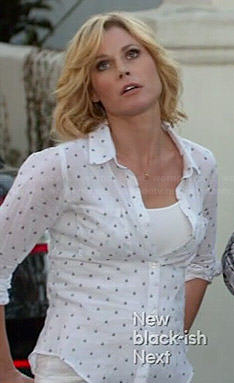 Claire's white dotted shirt on Modern Family