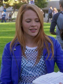 Daphne's printed top and blue leather jacket on Switched at Birth