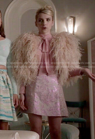WornOnTV Chanels Pink Heart Quilted Crop Top And Feather