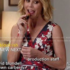 Dexter Kitchen White Cupboards Wornontv: Claire's Red And Navy Floral Wrap Dress On ...