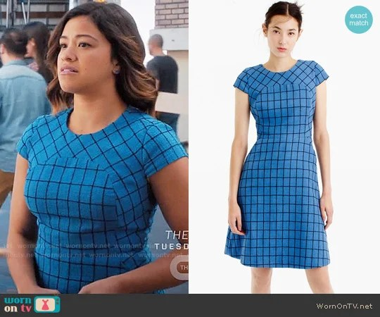 J. Crew A-line dress in windowpane tweed worn by Gina Rodriguez on Jane the Virgin