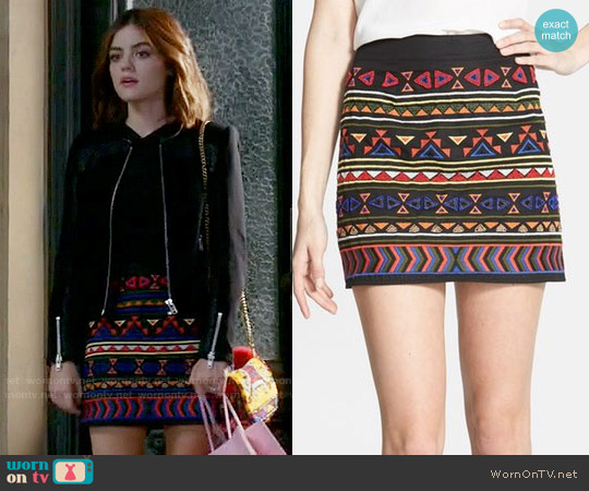Sam Edelman Beaded Geo Print Miniskirt worn by Lucy Hale on PLL