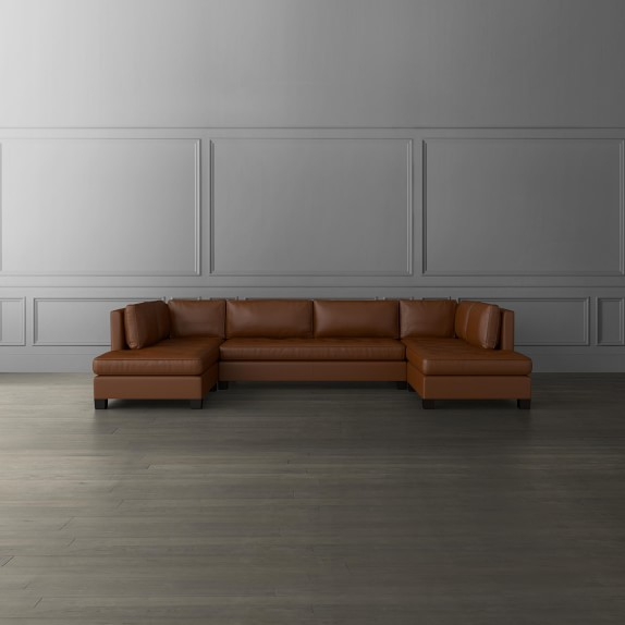 wilshire leather 3 piece u shape sofa sectional with chaise