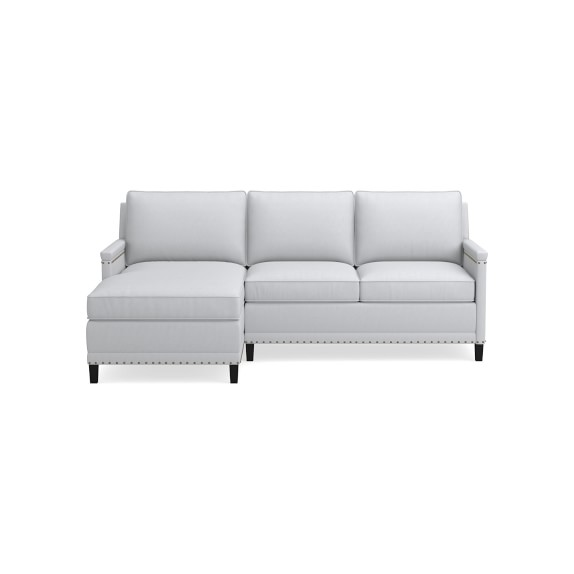 addison 2 piece l shape loveseat chaise sectional with nailheads left
