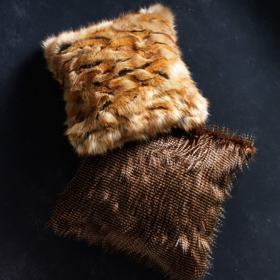 brown owl feather faux fur pillow