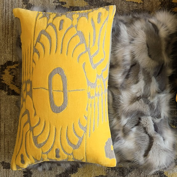 velvet ikat applique lumbar pillow